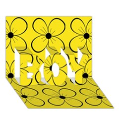 Yellow Floral Pattern Boy 3d Greeting Card (7x5) by Valentinaart