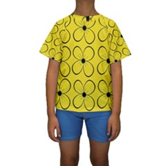 Yellow floral pattern Kid s Short Sleeve Swimwear by Valentinaart
