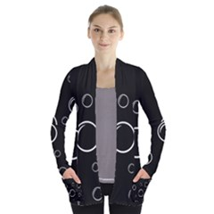 Black And White Bubbles Women s Open Front Pockets Cardigan(p194) by Valentinaart