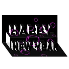 Purple Bubbles  Happy New Year 3d Greeting Card (8x4)