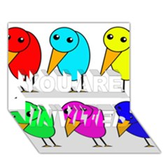 Colorful Birds You Are Invited 3d Greeting Card (7x5)