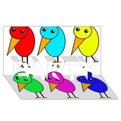 Colorful Birds Party 3d Greeting Card (8x4) by Valentinaart