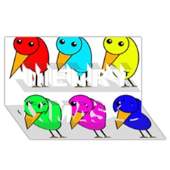 Colorful Birds Merry Xmas 3d Greeting Card (8x4) by Valentinaart