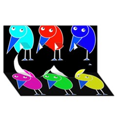 Colorful Birds Twin Hearts 3d Greeting Card (8x4) by Valentinaart