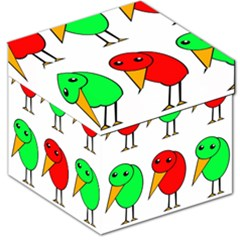 Green and red birds Storage Stool 12   by Valentinaart