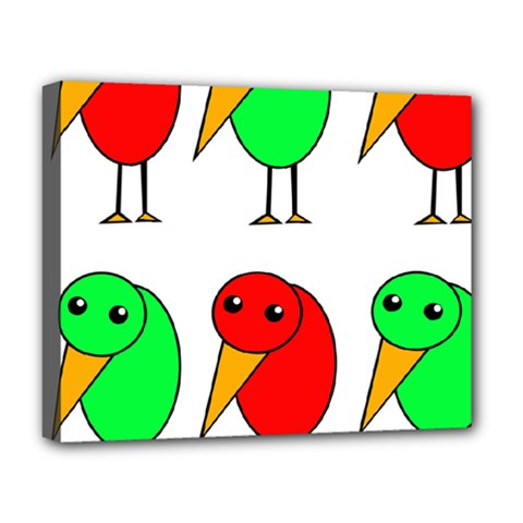 Green And Red Birds Deluxe Canvas 20  X 16   by Valentinaart