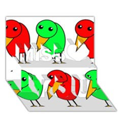 Green And Red Birds Miss You 3d Greeting Card (7x5)