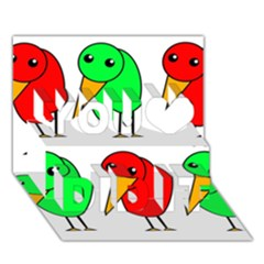 Green And Red Birds You Did It 3d Greeting Card (7x5) by Valentinaart