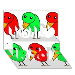 Green And Red Birds You Rock 3d Greeting Card (7x5) by Valentinaart