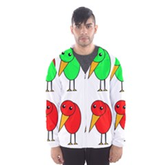 Green and red birds Hooded Wind Breaker (Men) by Valentinaart