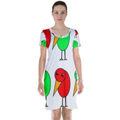 Green And Red Birds Short Sleeve Nightdress by Valentinaart