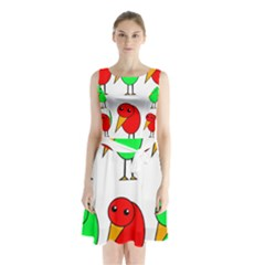 Green And Red Birds Sleeveless Waist Tie Dress by Valentinaart