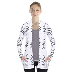 White Bug Pattern Women s Open Front Pockets Cardigan(p194) by Valentinaart
