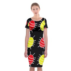 Red And Yellow Bugs Pattern Classic Short Sleeve Midi Dress by Valentinaart