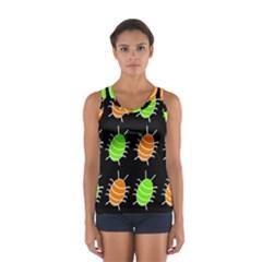 Green And Orange Bug Pattern Women s Sport Tank Top