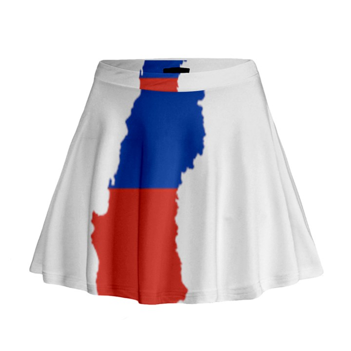 Flag Map Of Chile  Mini Flare Skirt