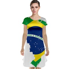 Flag Map Of Brazil  Cap Sleeve Nightdress by abbeyz71