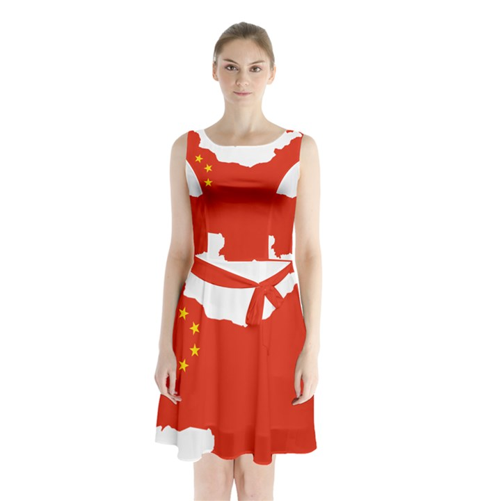 Flag Map Of China Sleeveless Waist Tie Dress