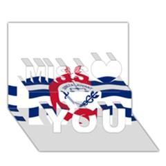 Flag Of Cincinnati Miss You 3D Greeting Card (7x5) by abbeyz71