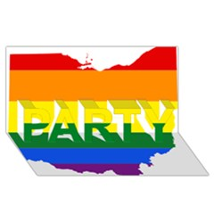 Lgbt Flag Map Of Ohio  Party 3d Greeting Card (8x4) by abbeyz71