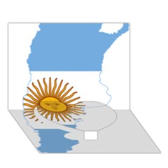 Flag Map Of Argentina Heart Bottom 3D Greeting Card (7x5) by abbeyz71