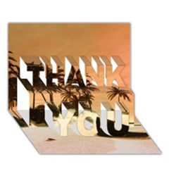 Wonderful Sunset Over The Beach, Tropcal Island Thank You 3d Greeting Card (7x5)