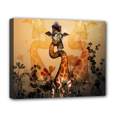 Funny, Cute Giraffe With Sunglasses And Flowers Deluxe Canvas 20  X 16   by FantasyWorld7