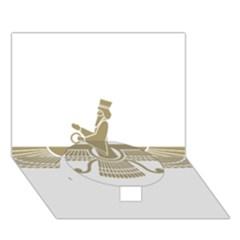 Stylized Faravahar  Circle Bottom 3d Greeting Card (7x5) by abbeyz71
