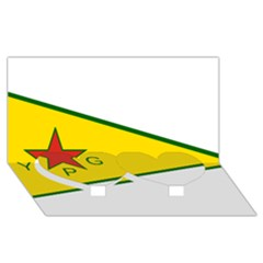 Flag Of The People s Protection Units Twin Heart Bottom 3d Greeting Card (8x4) by abbeyz71