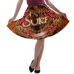 Surfing, Surfboard With Floral Elements  And Grunge In Red, Black Colors A Line Skater Skirt by FantasyWorld7