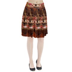 Surfing, Surfboard With Floral Elements  And Grunge In Red, Black Colors Pleated Skirt