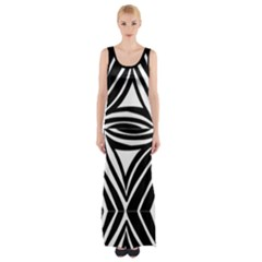 Abstract Wavy Zebra Print Maxi Thigh Split Dress by PKHarrisPlace