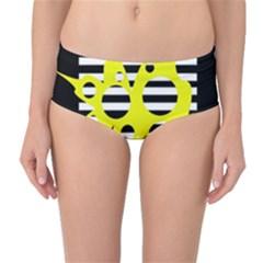 Yellow Abstraction Mid Waist Bikini Bottoms by Valentinaart