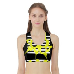 Yellow Abstraction Sports Bra With Border