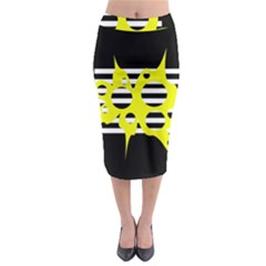 Yellow Abstraction Midi Pencil Skirt by Valentinaart