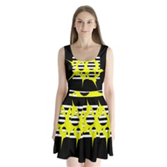 Yellow Abstraction Split Back Mini Dress  by Valentinaart