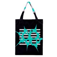 Cyan Abstract Design Classic Tote Bag by Valentinaart