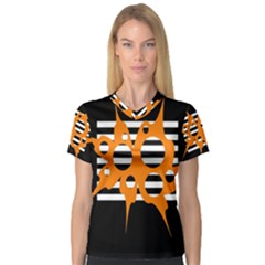 Orange Abstract Design Women s V Neck Sport Mesh Tee by Valentinaart