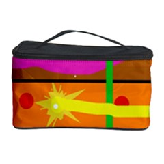 Orange Abstraction Cosmetic Storage Case by Valentinaart