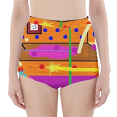 Orange Abstraction High Waisted Bikini Bottoms