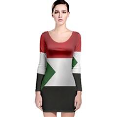 Flag Of Sudan Long Sleeve Velvet Bodycon Dress by artpics
