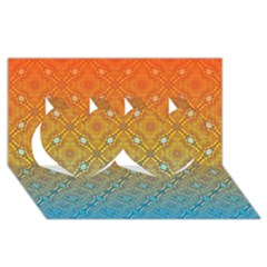 Ombre Fire And Water Pattern Twin Hearts 3d Greeting Card (8x4) by TanyaDraws