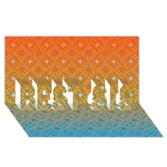 Ombre Fire And Water Pattern Best Sis 3d Greeting Card (8x4) by TanyaDraws