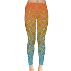Ombre Fire And Water Pattern Leggings  by TanyaDraws