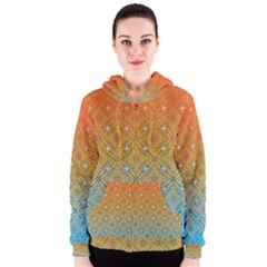 Ombre Fire And Water Pattern Women s Zipper Hoodie by TanyaDraws