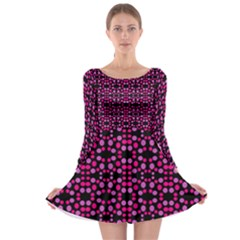 Dots Pattern Pink Long Sleeve Skater Dress by BrightVibesDesign