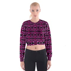 Dots Pattern Pink Women s Cropped Sweatshirt by BrightVibesDesign