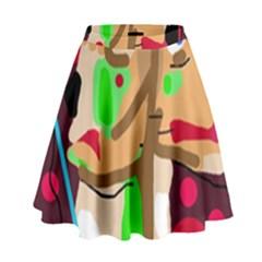Abstract Animal High Waist Skirt by Valentinaart