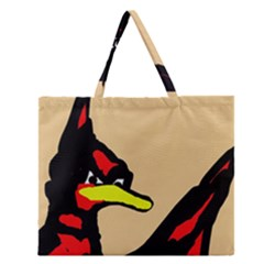 Angry Bird Zipper Large Tote Bag by Valentinaart