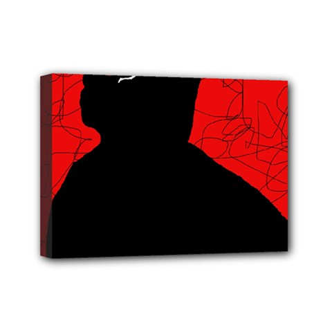 Red And Black Abstract Design Mini Canvas 7  X 5  by Valentinaart